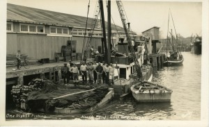 A California sardine both, the Nordby, making a delivery to Coos Bay in 1935. Photo courtesy of of the Coos Historical and Maritime Museum.