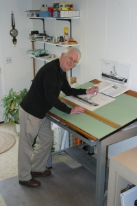 Bob in 2007 at the drawing board in the Stanwood office