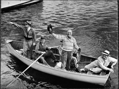 President Harry Truman goes fishing, photo courtesy of Truman Presidential Library and Life magazine