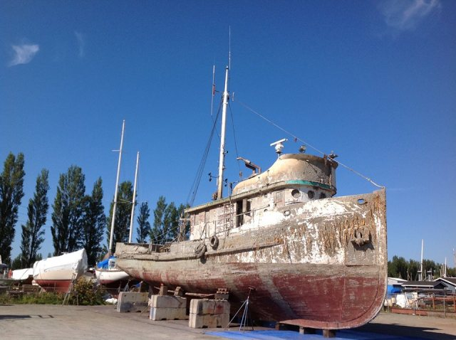 The Western Flyer in a Port Townsend boatyard, photo by Anne Shaffer of the Coastal Watershed Institute.