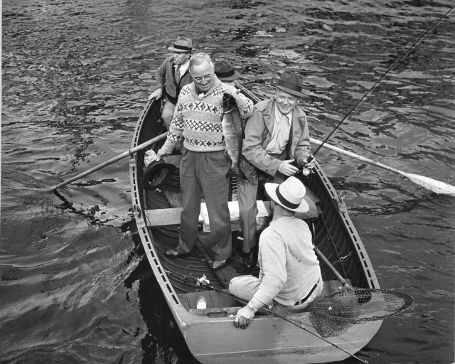 President Harry Truman fishing in Puget Sound, Nick Bez rowing the boat. Truman Presidential Library Photograph