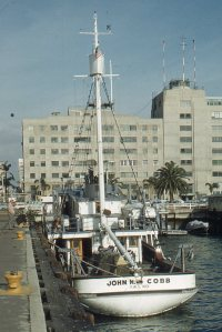 Stern view of the Cobb in San Diego, mid-1960s, Hitz photo