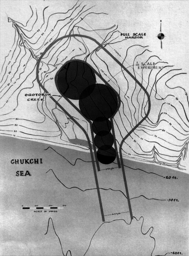 Project Chariot plans for using six nuclear bombs to create a new harbor in Alaska.