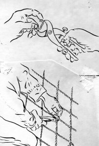 Attaching Hog Ring, Boris drawing