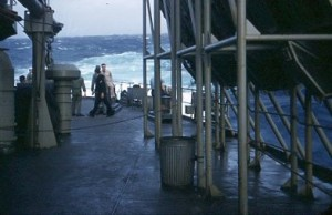 On Butner looking aft, after hurricane, 1956, Hitz photo
