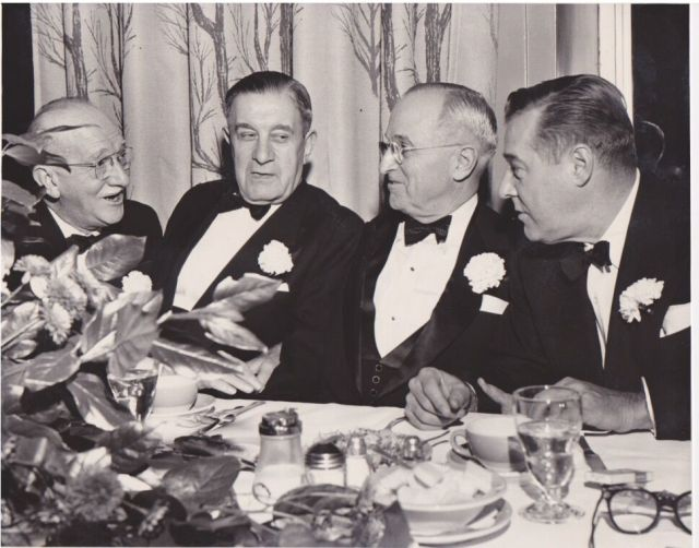 Unidentified man to the left, Nick Bez, President Harry Truman, Washington Senator Warren Magnuson. Undated, courtesy of the Bez family